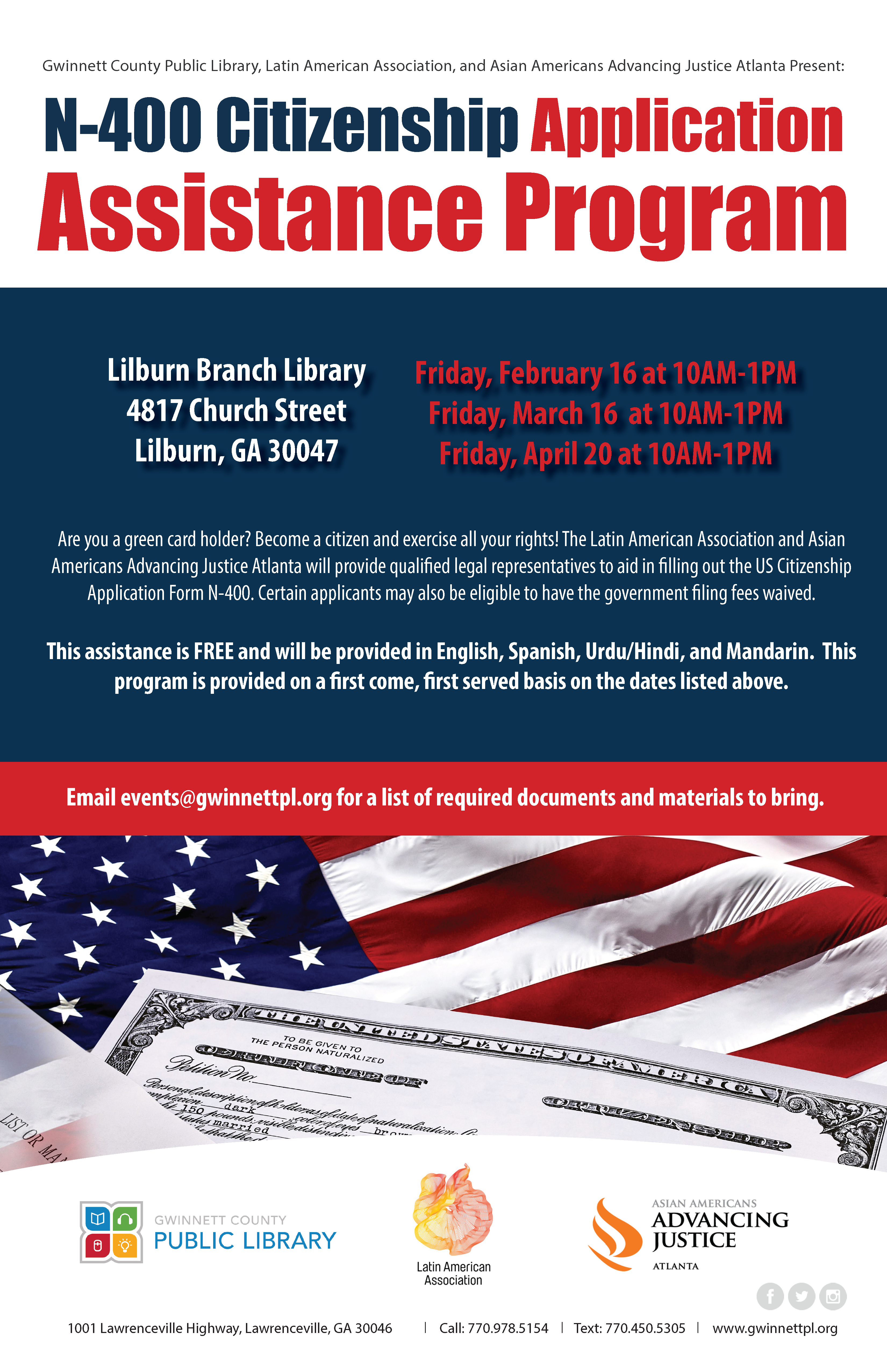 Immigration legal services latin american association latin for additional clinic details and times falaconquin